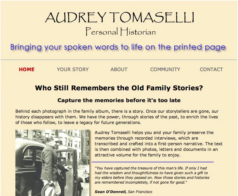 Audrey Tomaselli Personal Historian screenshot